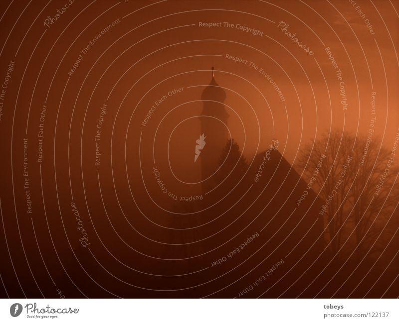 Ekklesia Baum Berge u. Gebirge Religion & Glaube Rücken Nebel Dach Turm Burg oder Schloss Gebet Friedhof Allgäu Kirchturm Gotteshäuser Orgel Musikinstrument