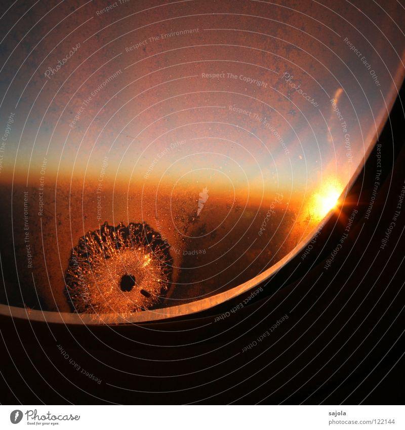 eisstern Ferien & Urlaub & Reisen Ferne Freiheit Sonne Luftverkehr Himmel Wolken Horizont Eis Frost Fenster Flugzeug Glas rot Stimmung Sonnenuntergang