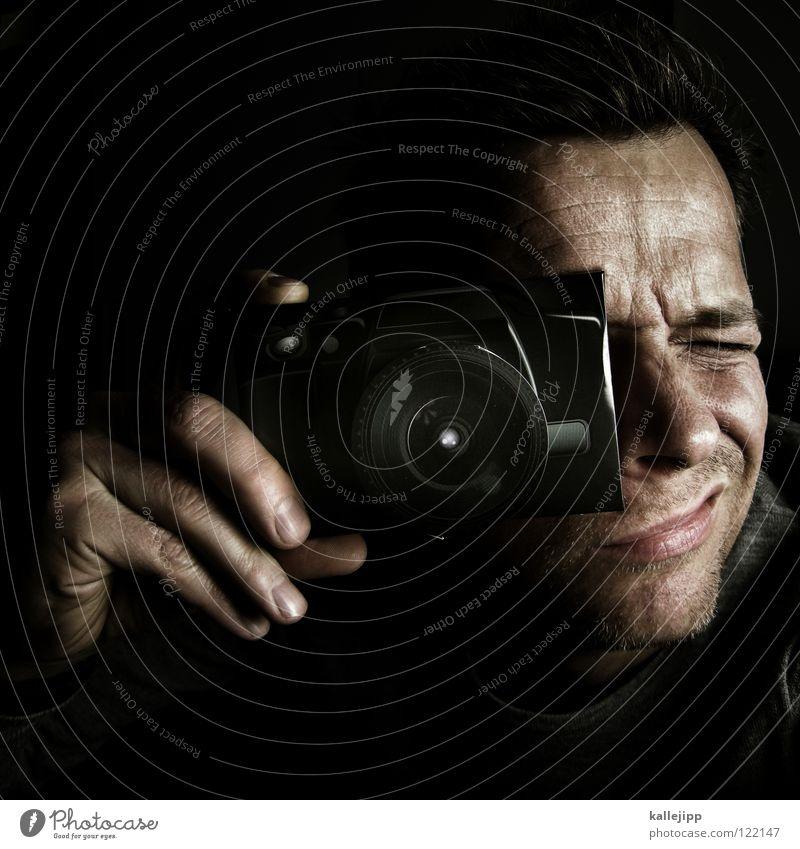 999 _ danke lieber papp-kamera-d Mann Hand Gesicht Mund Fotografie leer Netzwerk Technik & Technologie Ziel Freizeit & Hobby Bild festhalten Leidenschaft Partner Karton Fotograf