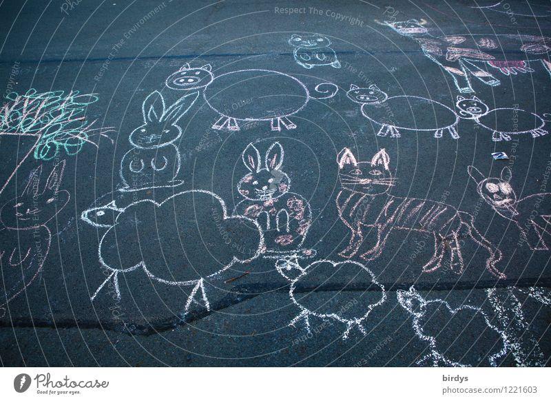 Flucht aus dem Streichelzoo Kunst Strassenmalerei Bild Kreidezeichnung Straße Tiergruppe Tierfamilie Bewegung gehen hocken laufen Blick ästhetisch authentisch