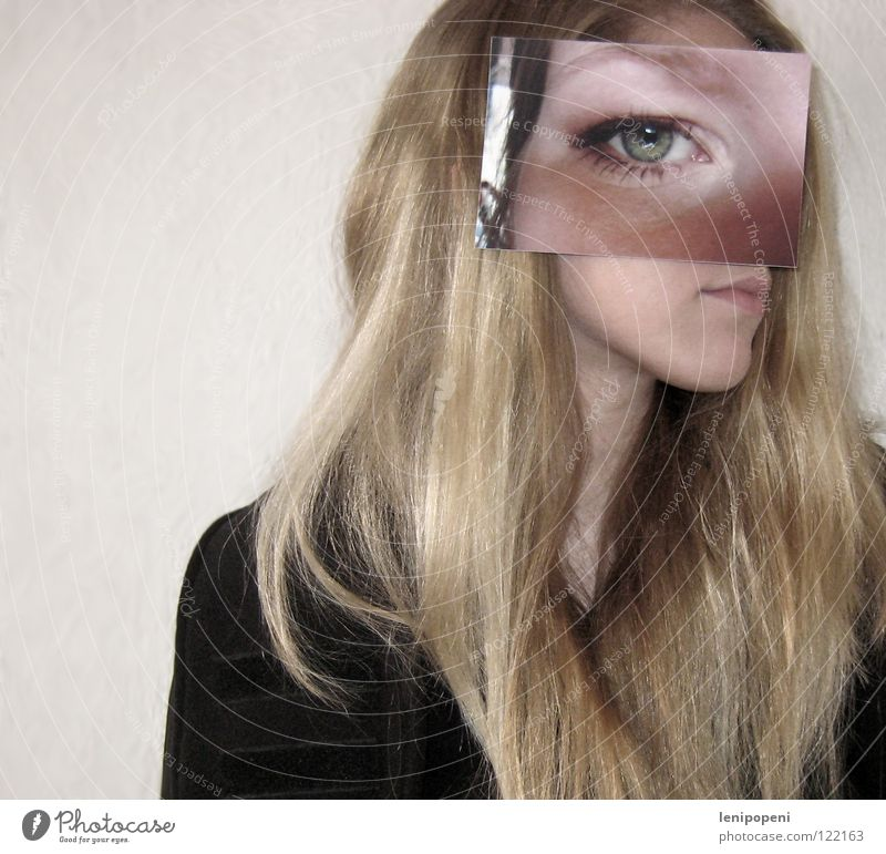 Bigpatcheye Fotografie Frau Silhouette blond zudecken lang Auge Profil verstecken Mund Haare & Frisuren bleich geklebt zu groß Wegsehen Maske Anschnitt