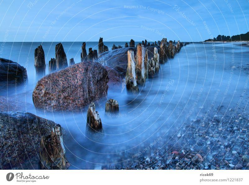 Buhne Natur Ferien & Urlaub & Reisen alt blau Wasser Meer Landschaft Wolken Strand Küste Stein Idylle Romantik Ziel Ostsee Mecklenburg-Vorpommern