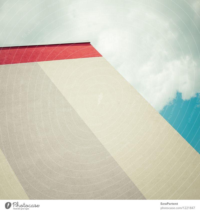 Block elegant Stil Häusliches Leben Haus Himmel Wolken Stadt Bauwerk Gebäude Architektur Mauer Wand Fassade Beton Linie Streifen ästhetisch hell blau grau rot