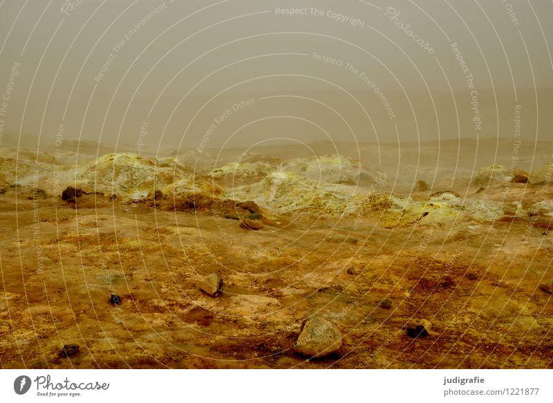 Island Umwelt Natur Landschaft Urelemente Erde Vulkan außergewöhnlich heiß natürlich wild gelb Stimmung einzigartig Endzeitstimmung Schwefel vulkanisch Nebel