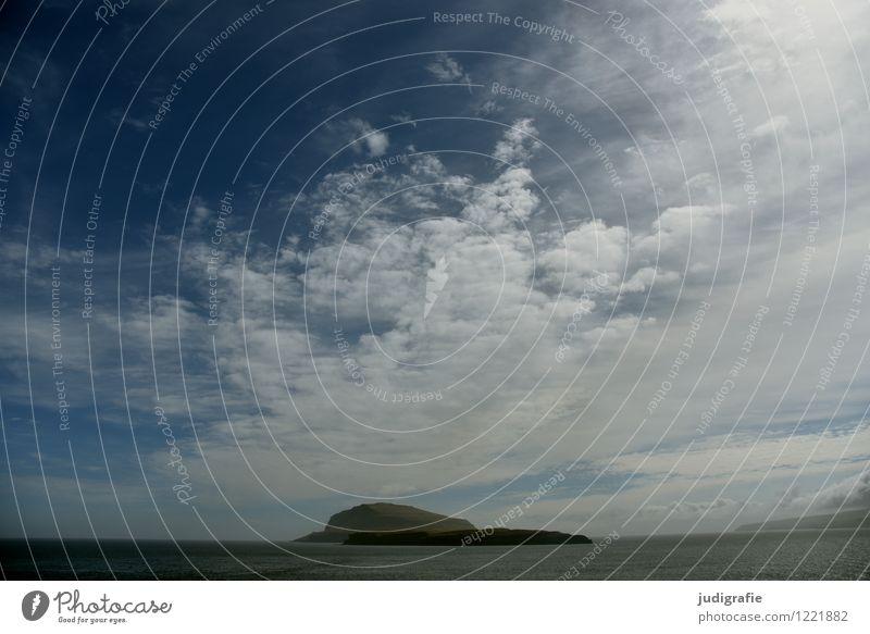 Färöer Himmel Natur Ferien & Urlaub & Reisen blau Wasser Meer Landschaft Wolken Ferne kalt Umwelt natürlich Küste Insel Klima Føroyar