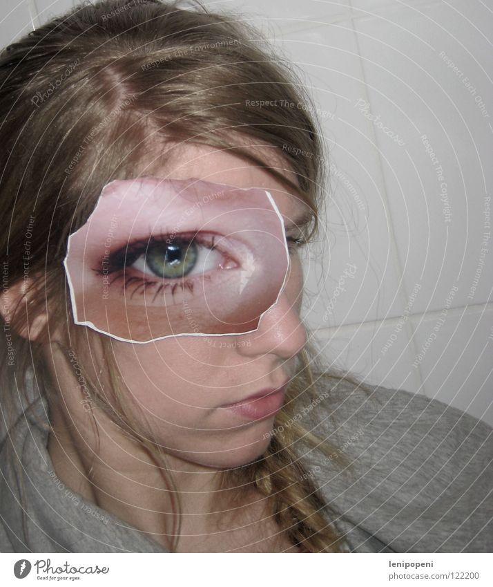 Abovepatcheye Fotografie Frau Vogelperspektive ausgerissen blond Zopf Scheitel frontal ernst Lippen durcheinander Auge Bild geklebt Haare & Frisuren Nase