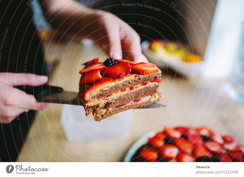 Kuchenzeit Lebensmittel Frucht Dessert Süßwaren Erdbeeren Brombeere Brombeeren Ernährung Messer Lifestyle elegant Stil Freude harmonisch Freizeit & Hobby