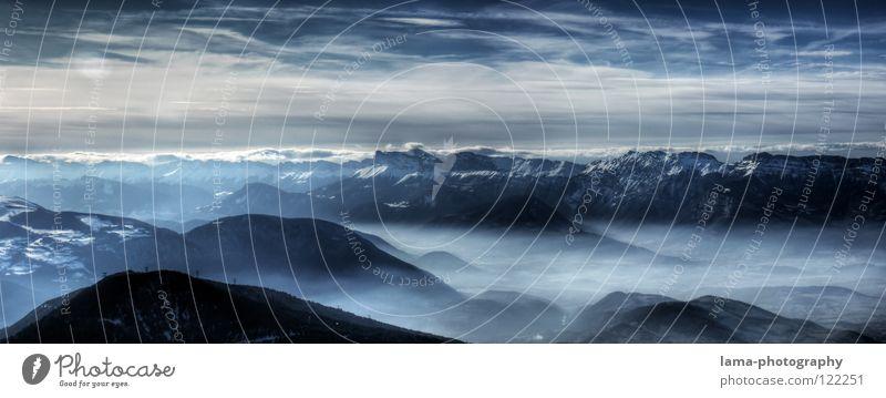 Visions: Landscape of a Fairytale Himmel Natur blau Baum Wolken Umwelt Landschaft dunkel Berge u. Gebirge Schnee Erde Luft träumen Nebel groß Zukunft