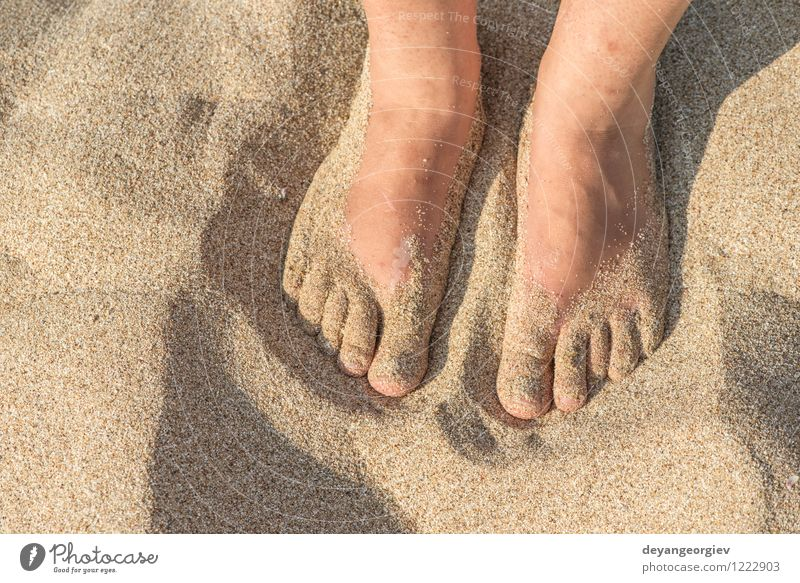 Fuß in Riemen am Strand Freude Erholung Freizeit & Hobby Ferien & Urlaub & Reisen Sommer Meer Wellen Frau Erwachsene Sand Schuhe Hausschuhe blau rot weiß Flip