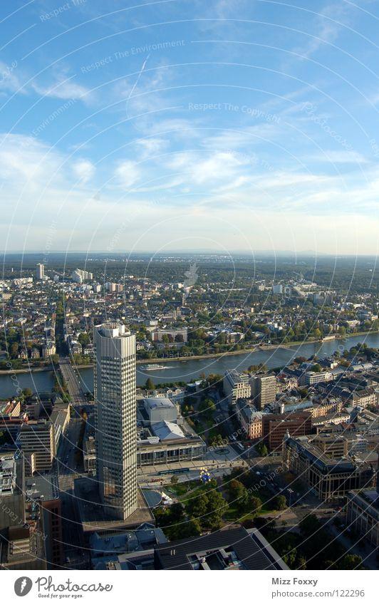 Frankfurter Horizont II Himmel Stadt blau Deutschland Hochhaus Perspektive Fluss Frankfurt am Main