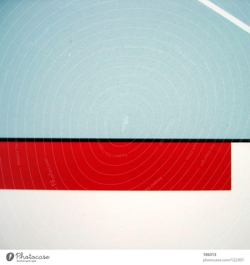 ALLES UND NICHTS rot zyan weiß Linie Strukturen & Formen graphisch sehr wenige minimalistisch Freiraum Quader Wand Trennlinie Platz Plattencover