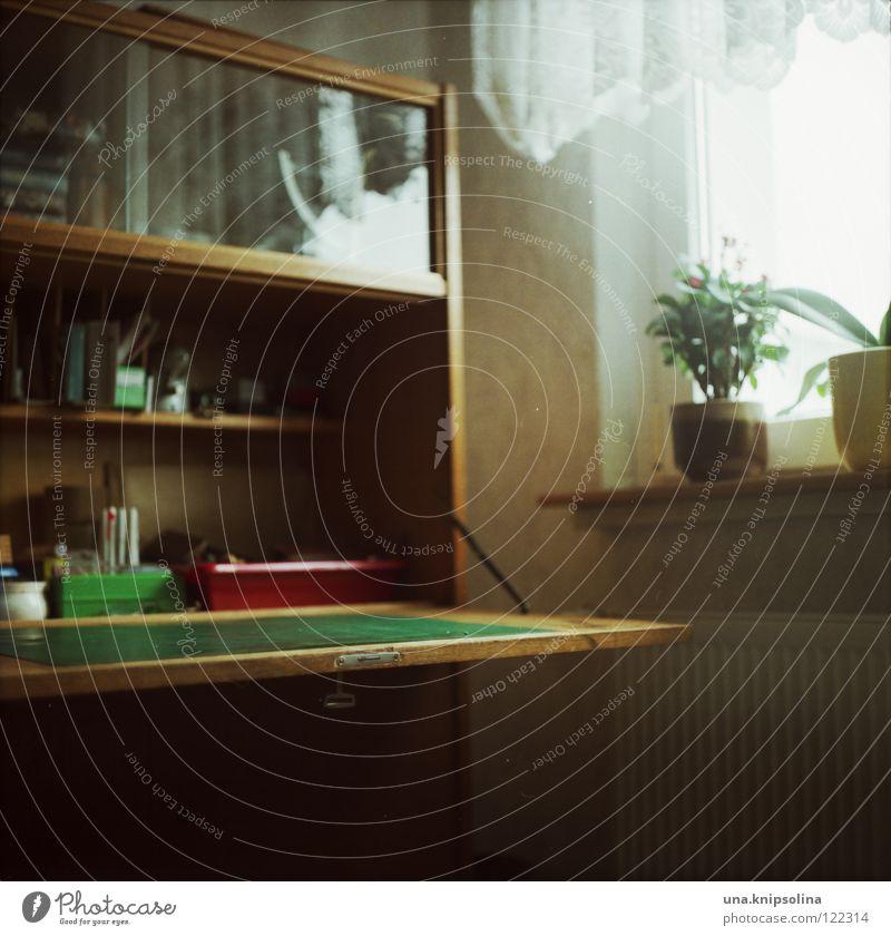 schreibtisch Pflanze Arbeit & Erwerbstätigkeit Wohnung Glas Häusliches Leben Tisch lesen retro schreiben Schreibtisch Gardine Schalen & Schüsseln Erinnerung Sechziger Jahre Basteln poetisch