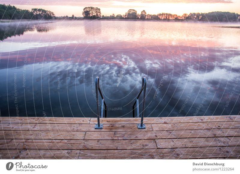 Steps to heaven Ferien & Urlaub & Reisen Sommerurlaub Landschaft Himmel Wolken Horizont Frühling Herbst Schönes Wetter Küste Seeufer Flussufer blau gelb violett