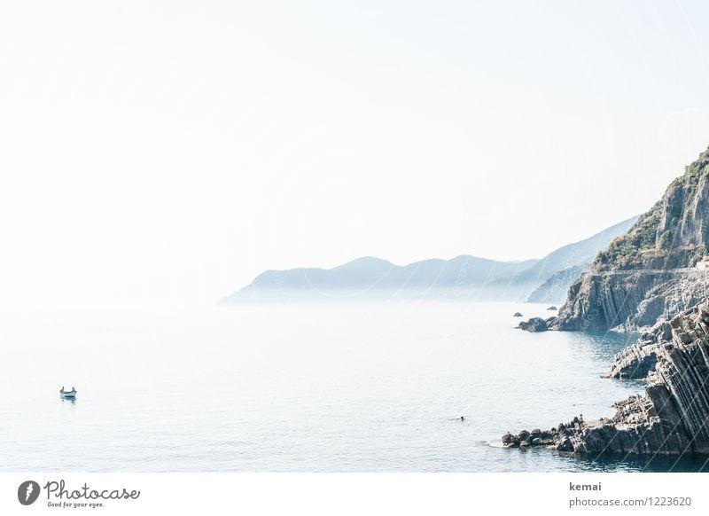 Zwei in einem Boot Ferien & Urlaub & Reisen Tourismus Ausflug Abenteuer Ferne Freiheit Umwelt Natur Landschaft Wasser Wolkenloser Himmel Sonne Sonnenaufgang