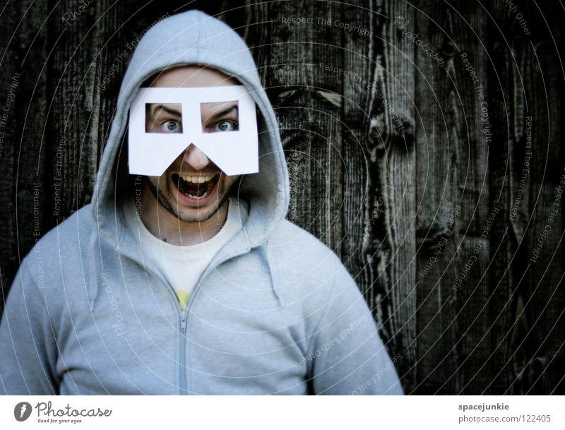Flashback Mann Freude Wand Holz Papier Maske schreien Freak erschrecken Achtziger Jahre Star Wars