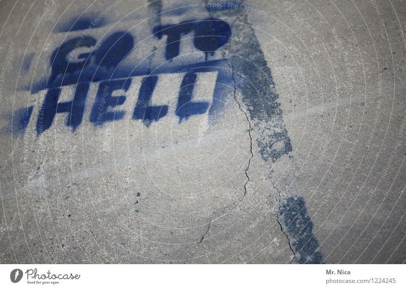 hölle hölle hölle blau Graffiti grau Schilder & Markierungen Schriftzeichen Beton Zeichen Boden Typographie Riss Fuge Hölle
