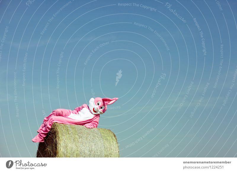 Hot Bunny Himmel Erholung Freude Tier außergewöhnlich Kunst rosa liegen verrückt ästhetisch Kreativität Idee Körperhaltung Gemälde Ohr Sonnenbad