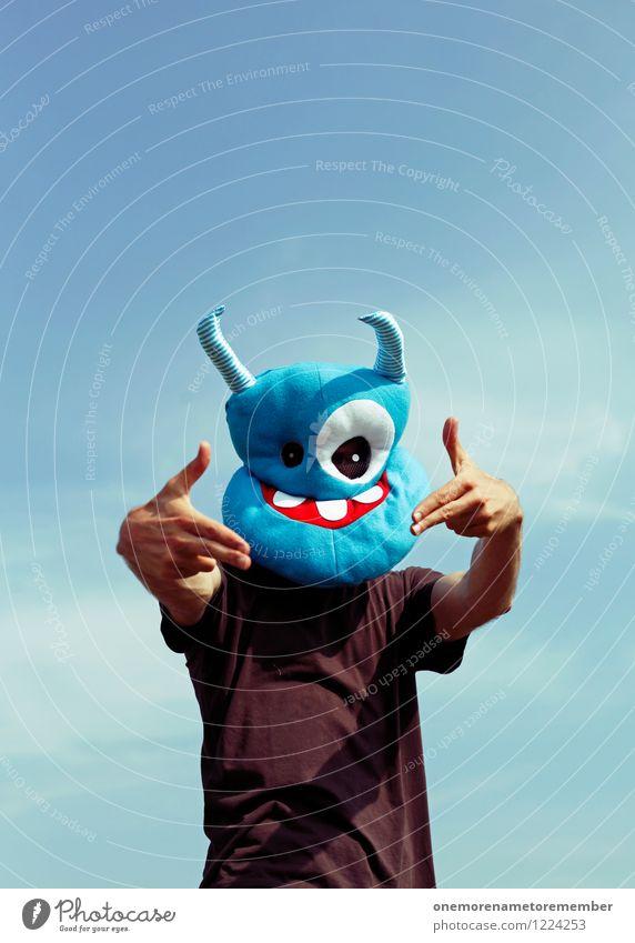 PENG MAN! Jugendliche blau Hand Freude außergewöhnlich Kunst Party Design verrückt ästhetisch Kreativität bedrohlich Jugendkultur Maske Aggression Monster