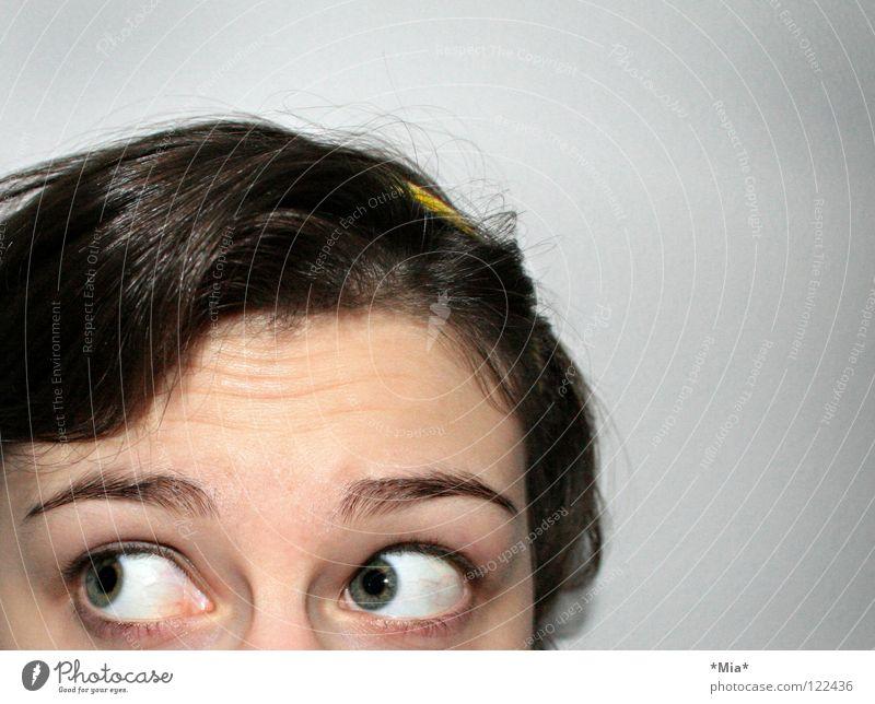 Bad - Hair - Day (II) Haare & Frisuren Augenbraue chaotisch Frau Haarreif Haarsträhne erstaunt Überraschung Schrecken Blick bad-hair-day große Augen machen