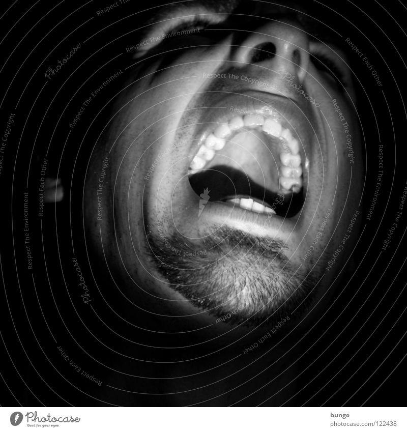 Dein Foto wurde leider nicht bestätigt. Mann Jugendliche Gesicht sprechen Mund Angst Nase Zähne Ohr Wut schreien gruselig Falte Stress Verzweiflung Panik