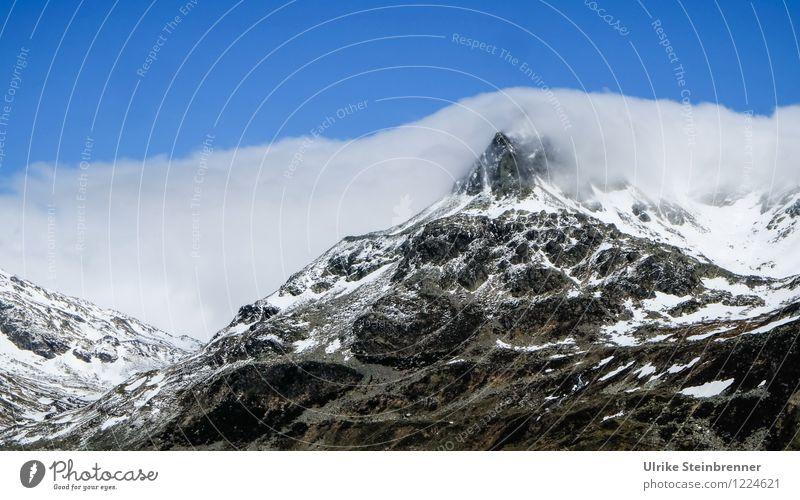 Schneewarnung 2 Himmel Natur Ferien & Urlaub & Reisen blau Sommer weiß Landschaft Wolken Ferne Berge u. Gebirge Umwelt natürlich grau Felsen Wetter