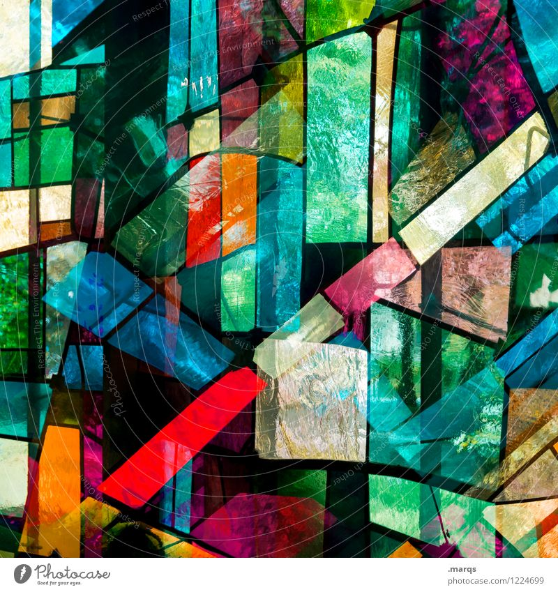 Sakral elegant Stil Design Fenster Glas Linie Streifen außergewöhnlich Coolness trendy einzigartig modern verrückt mehrfarbig chaotisch Farbe Ordnung
