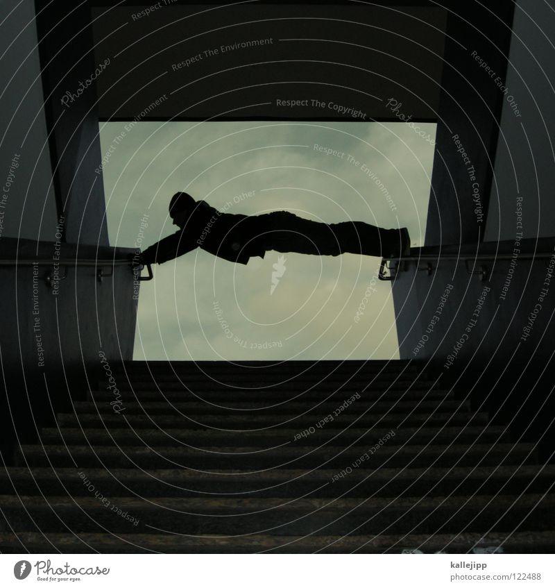 spanner Mann Silhouette Dieb Krimineller Ausbruch Flucht umfallen Fenster Parkhaus Geometrie Gegenlicht Jacke Mantel Mütze Athlet Thriller Ägypter Handschuhe