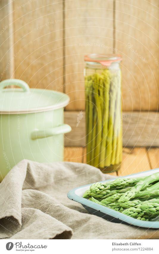 Grünen Spargel einwecken Gemüse Teller Topf Holz frisch grün Grünspargel Einmachglas grüner Spargel konservieren konserviert Zutaten kochen & garen Essen