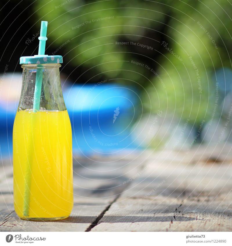Limo im Garten Getränk trinken Erfrischungsgetränk Limonade Saft Flasche Glas Trinkhalm Glasflasche Lifestyle harmonisch Wohlgefühl Freizeit & Hobby Sommer