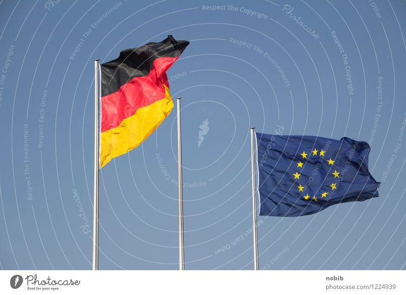 union Handel Hauptstadt Marktplatz Flughafen Zeichen Eurozeichen Fahne Kommunizieren Erfolg Zusammensein blau gelb rot schwarz Kraft Macht Vertrauen Sicherheit