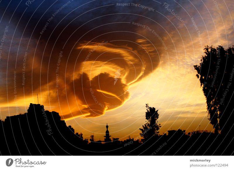 sandsturm über damaskus Sturm Sandsturm Wolken Bildung Kreis gelb rot Dämmerung Licht Stimmung Damaskus Syrien Orkan Gewitter orange blau Himmel Aussehen mega