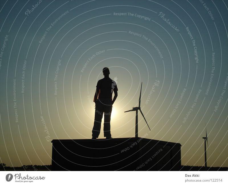 2nd Generators View Sonnenaufgang Horizont Sommer Physik Feld rot weiß schwarz Himmel Erneuerbare Energie Elektrizität klein Vertrauen Frieden sunrise Flügel