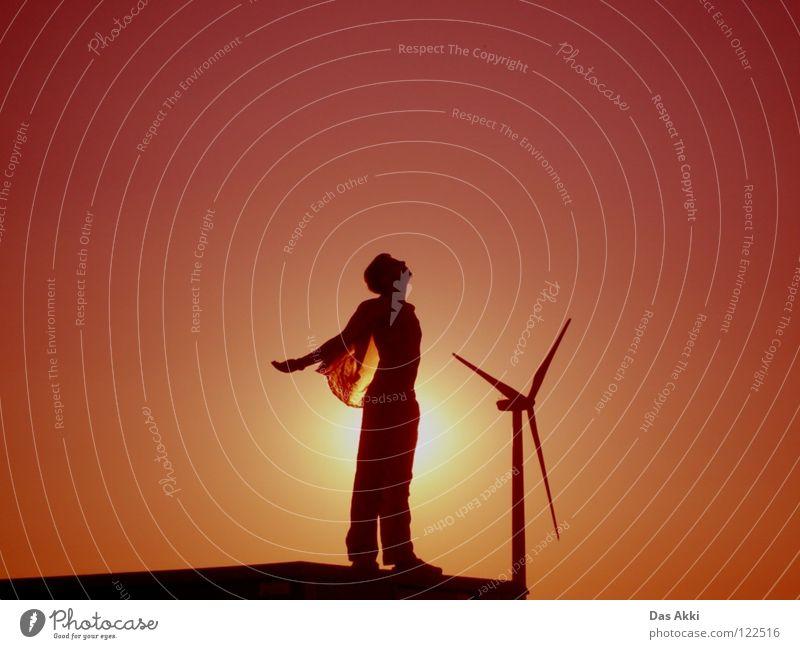 3rd Generators View Sonnenaufgang Horizont Sommer Physik Feld rot weiß schwarz Himmel Erneuerbare Energie Elektrizität klein Vertrauen Frieden sunrise Flügel