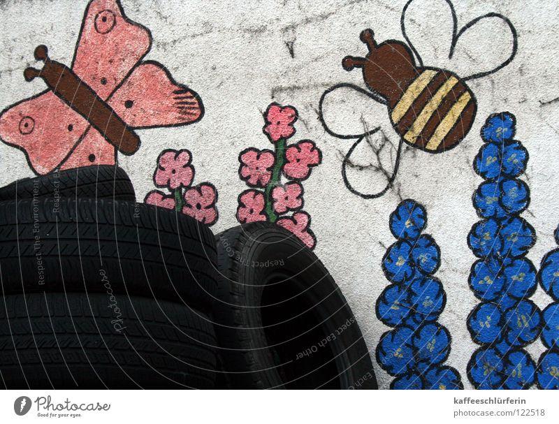 Sommer-Reifen Gemälde Wand Schmetterling Biene entsorgen Blume Autoreifen Fröhlichkeit Gegenteil obskur Reifenstapel