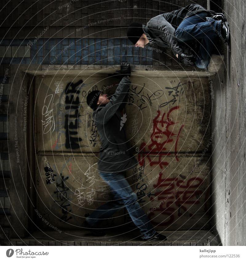 inneres gleichgewicht Mann Silhouette Dieb Krimineller Ausbruch Flucht umfallen Fenster Parkhaus Geometrie Gegenlicht Jacke Mantel Mütze Athlet Thriller Ägypter