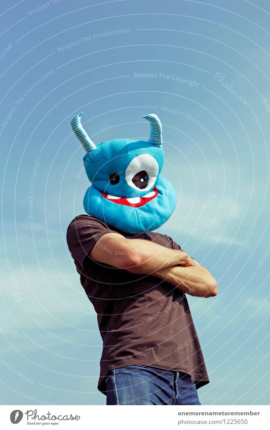 Come On. Jugendliche blau Kunst verrückt ästhetisch warten Jugendkultur Coolness stark Maske anstrengen Kunstwerk Kostüm Blauer Himmel Monster protestieren