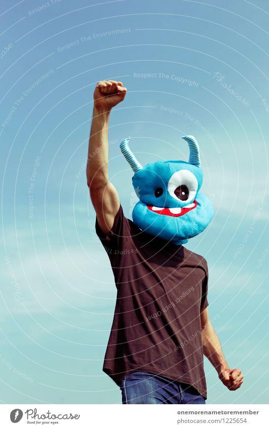 forward! Kunst Kunstwerk ästhetisch Monster Ungeheuer ungeheuerlich Erfolg Erfolgsaussicht außerirdisch Außerirdischer blau Blauer Himmel vorwärts Angriff