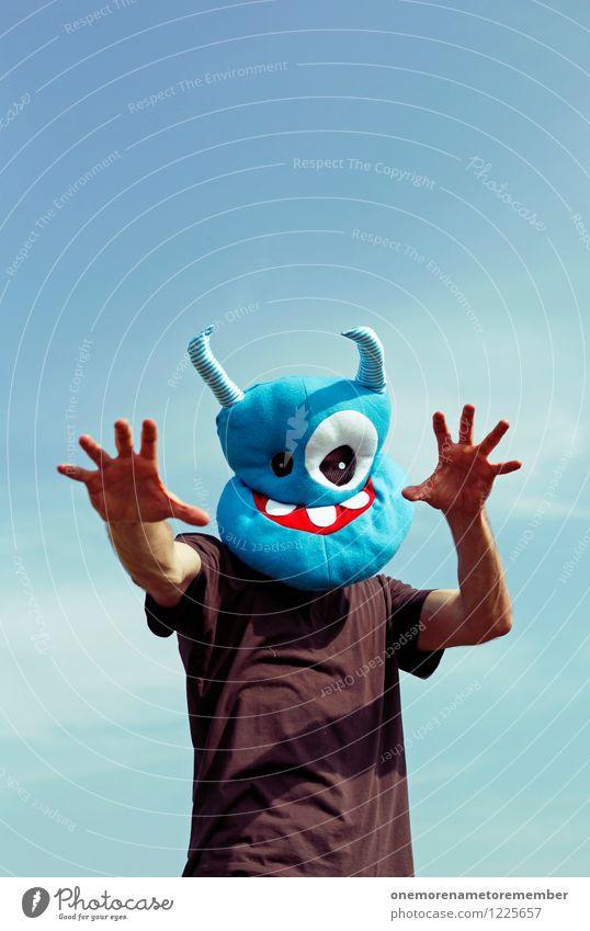 scarry Kunst Kunstwerk ästhetisch Monster Außerirdischer außerirdisch Ungeheuer ungeheuerlich blau Maske Kostüm Karnevalskostüm verkleidet erschrecken Halloween