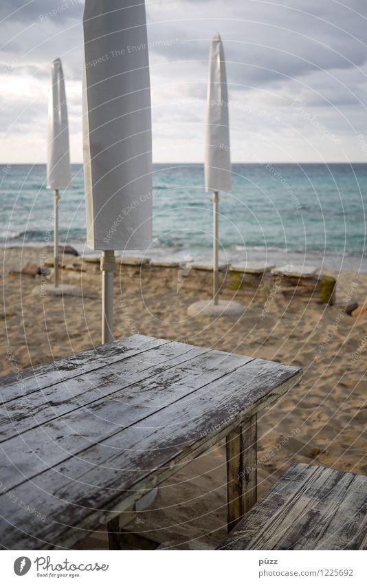 III Ferien & Urlaub & Reisen Tourismus Sommer Sommerurlaub Sonne Strand Natur Sand Himmel Wolken Herbst Wellen Küste Meer Mittelmeer Insel Formentera Stein Holz