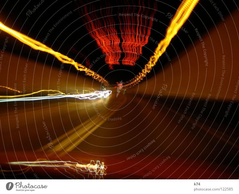 Strangers In The Light rot gelb Bewegung Linie Beleuchtung orange Brand Zeit Geschwindigkeit fahren Autobahn Tunnel brennen tief Flucht Scheinwerfer