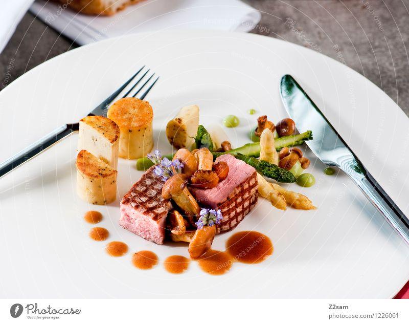 Schwein, muss sein! Fleisch Gemüse Brot Spargel Pilz Blüte Kartoffeln Schweinefleisch Ernährung Abendessen Italienische Küche Beton elegant frisch Gesundheit