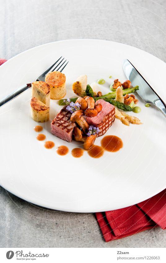 Schwein auf italienisch Fleisch Gemüse Kräuter & Gewürze Schweinefleisch Schweinefilet Kartoffeln Pilz Pfifferlinge Spargel Mittagessen Abendessen