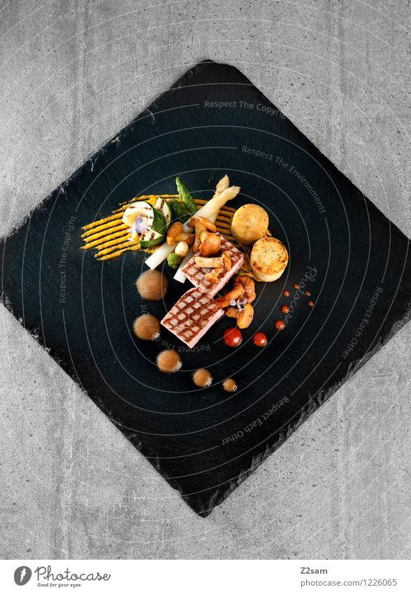 Schwein das muss sein Fleisch Gemüse Kräuter & Gewürze Kartoffeltaler Kartoffeln Spargel Zucchini Pilz Pfifferlinge Schweinefilet Ernährung Abendessen