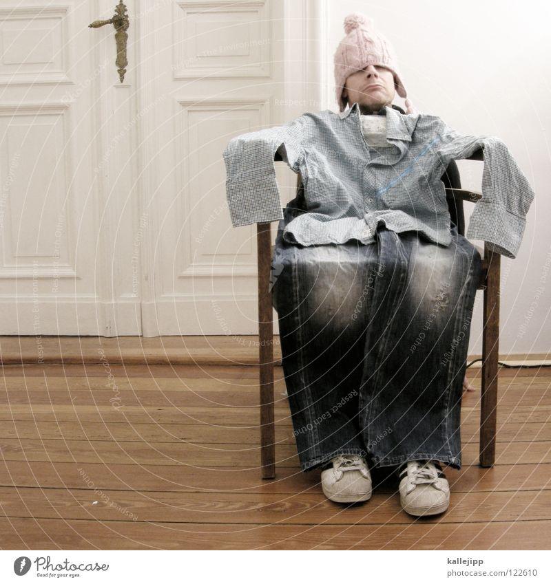 dummdoof rumsitzen Müdigkeit Erschöpfung Luft Hemd Kragen Hose Schuhe Haus Flur Wohnung Jubiläum Humor Mütze Dummkopf Langeweile Turnschuh dünn Verlierer 1000