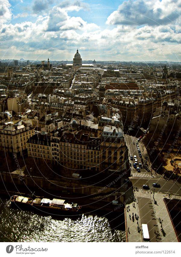 Pantheon Stadt Sommer Ferien & Urlaub & Reisen Haus Wolken Wasserfahrzeug Tourismus Wissenschaften Paris Frankreich Gotteshäuser Fischerboot Kahn Seine Pendel Panthéon