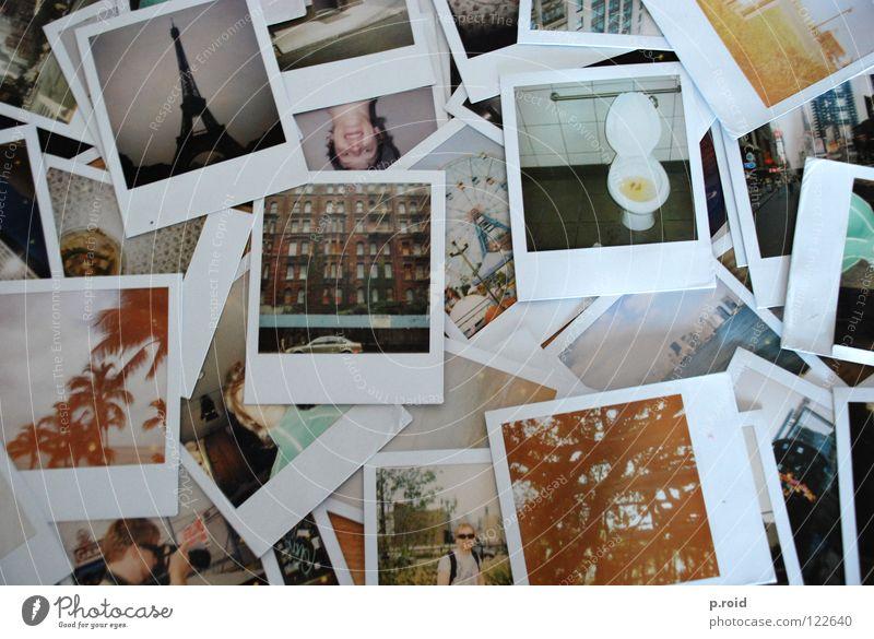 paris, new york, hawaii... analog Fotografie Polaroid alt viele Haufen durcheinander Urlaubsfoto Erinnerung