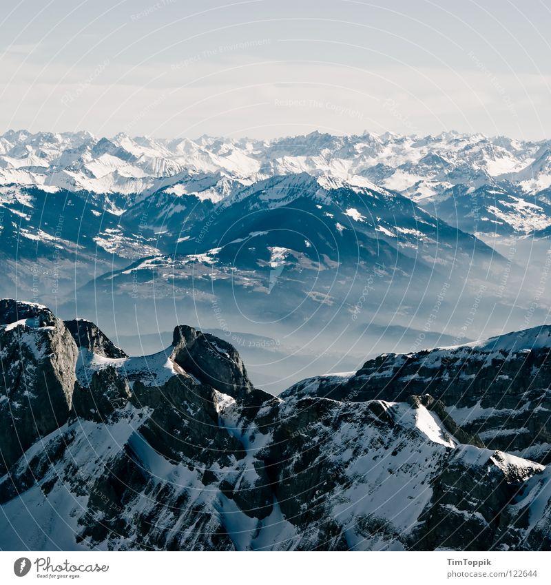 Holleridudödeldi Natur Winter Ferne kalt Schnee Berge u. Gebirge Stein Eis Nebel groß Felsen hoch Frost Aussicht Schweiz Klettern
