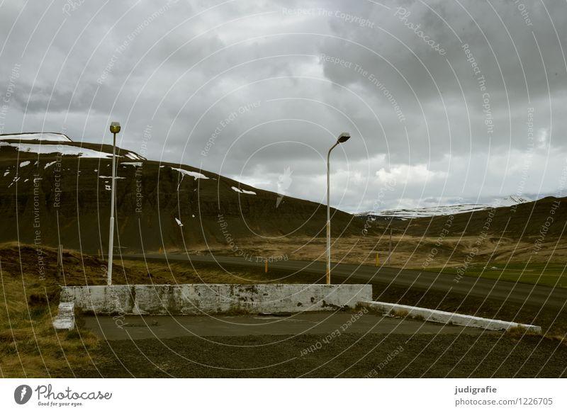 Island Umwelt Natur Landschaft Himmel Wolken Klima Hügel Berge u. Gebirge Menschenleer alt dunkel Stimmung stagnierend Vergangenheit Vergänglichkeit