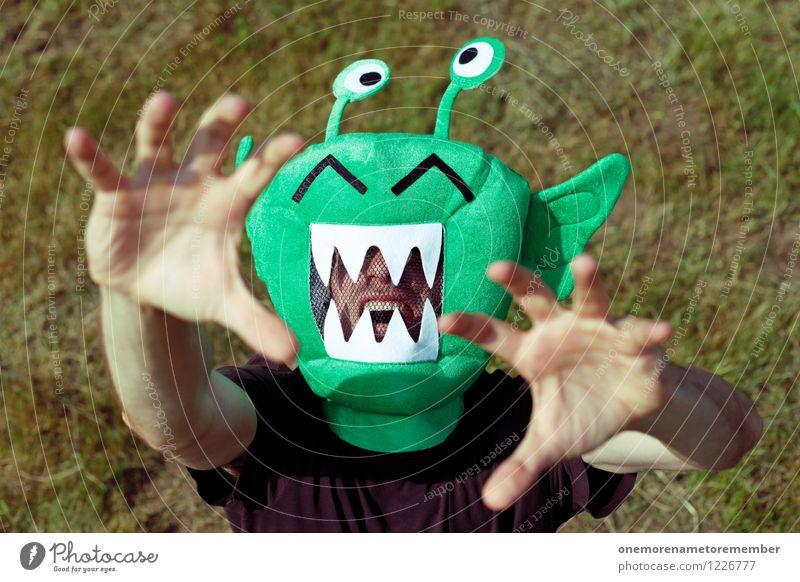 Green Scream grün Spielen Kunst verrückt ästhetisch Maske Karneval fangen Aggression Kunstwerk Kostüm greifen strecken Monster ausgestreckt Außerirdischer