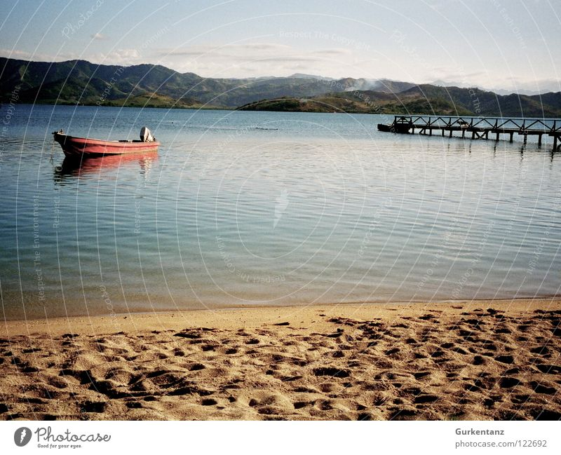 Fiji Fischer Fidschiinseln Pazifik Strand Küste Anlegestelle Wasserfahrzeug Fischerboot ruhig Einsamkeit Karibisches Meer Schifffahrt Frieden fijis